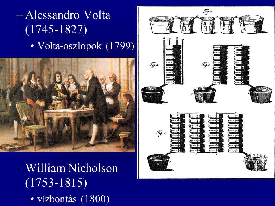 –Alessandro Volta (1745-1827) Volta-oszlopok (1799) –William Nicholson (1753-1815) vízbontás (1800)