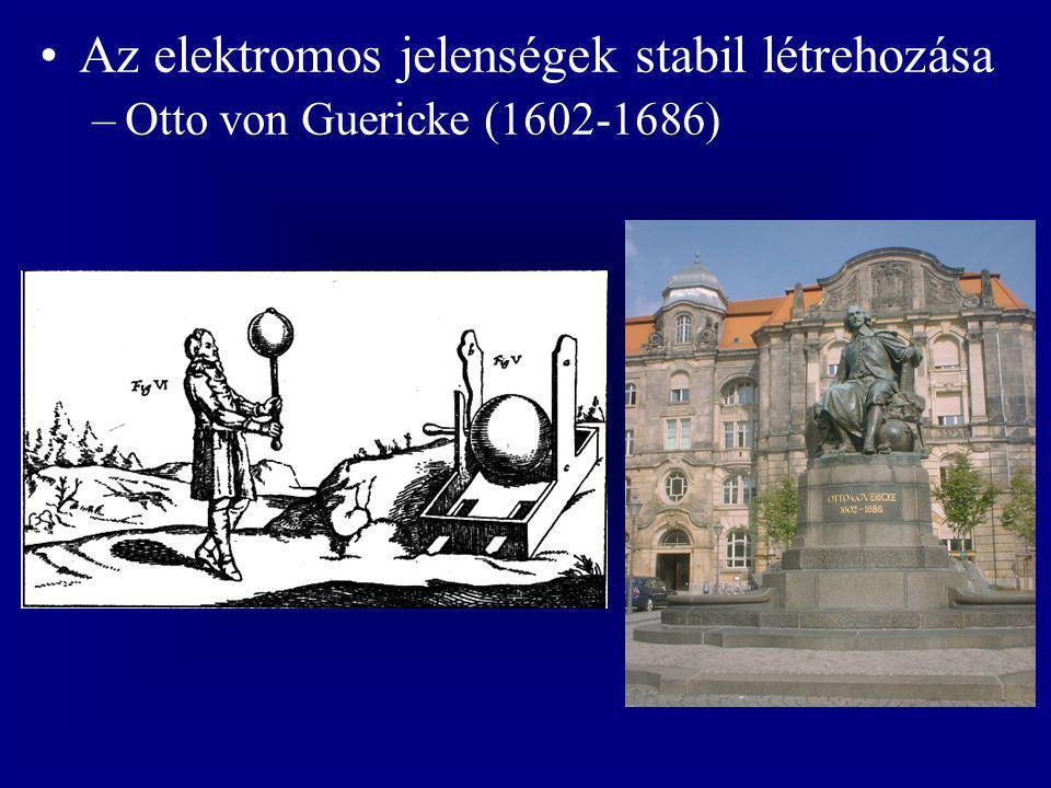Az elektromos jelenségek stabil létrehozása –Otto von Guericke (1602-1686)