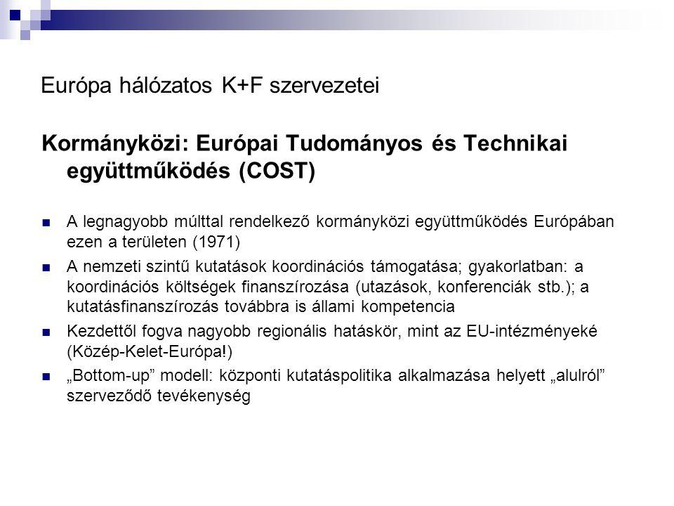 """Európa hálózatos K+F szervezetei Kormányközi: Európai Tudományos és Technikai együttműködés (COST) A legnagyobb múlttal rendelkező kormányközi együttműködés Európában ezen a területen (1971) A nemzeti szintű kutatások koordinációs támogatása; gyakorlatban: a koordinációs költségek finanszírozása (utazások, konferenciák stb.); a kutatásfinanszírozás továbbra is állami kompetencia Kezdettől fogva nagyobb regionális hatáskör, mint az EU-intézményeké (Közép-Kelet-Európa!) """"Bottom-up modell: központi kutatáspolitika alkalmazása helyett """"alulról szerveződő tevékenység"""