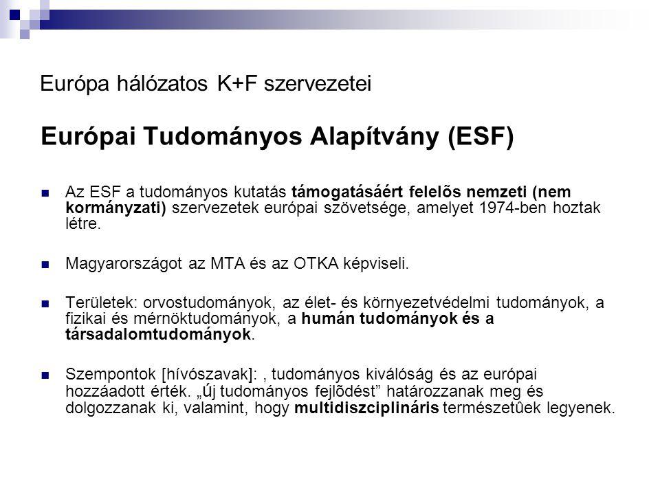 Európa hálózatos K+F szervezetei Európai Tudományos Alapítvány (ESF) Az ESF a tudományos kutatás támogatásáért felelõs nemzeti (nem kormányzati) szervezetek európai szövetsége, amelyet 1974-ben hoztak létre.