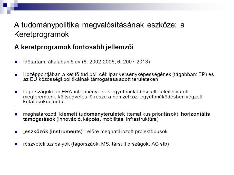 A tudománypolitika megvalósításának eszköze: a Keretprogramok A keretprogramok fontosabb jellemzői Időtartam: általában 5 év (6: 2002-2006, 6: 2007-2013) Középpontjában a két fő tud.pol.