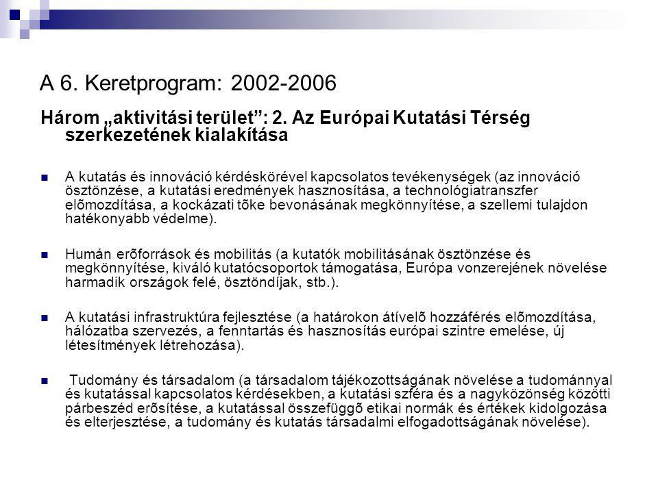"""A 6. Keretprogram: 2002-2006 Három """"aktivitási terület"""": 2. Az Európai Kutatási Térség szerkezetének kialakítása A kutatás és innováció kérdéskörével"""