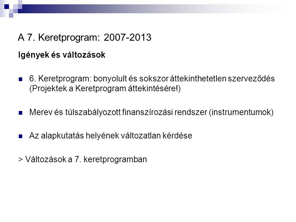 A 7. Keretprogram: 2007-2013 Igények és változások 6. Keretprogram: bonyolult és sokszor áttekinthetetlen szerveződés (Projektek a Keretprogram átteki