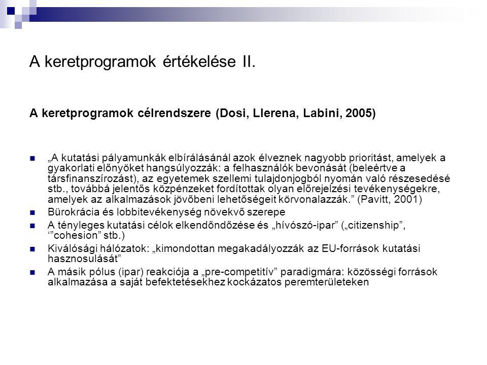 """A keretprogramok értékelése II. A keretprogramok célrendszere (Dosi, Llerena, Labini, 2005) """"A kutatási pályamunkák elbírálásánál azok élveznek nagyob"""