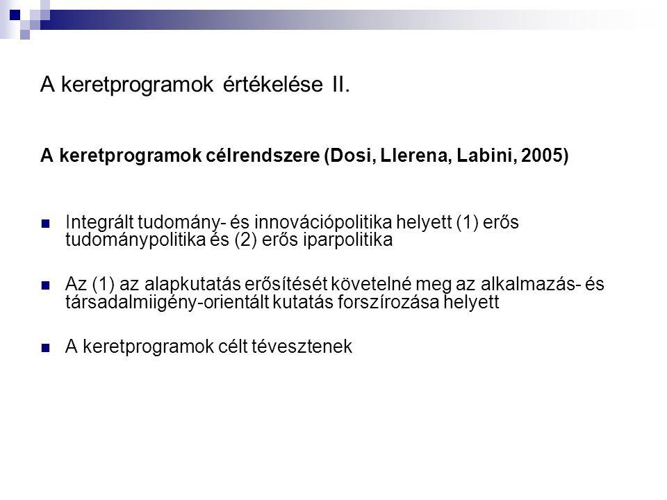 A keretprogramok értékelése II. A keretprogramok célrendszere (Dosi, Llerena, Labini, 2005) Integrált tudomány- és innovációpolitika helyett (1) erős