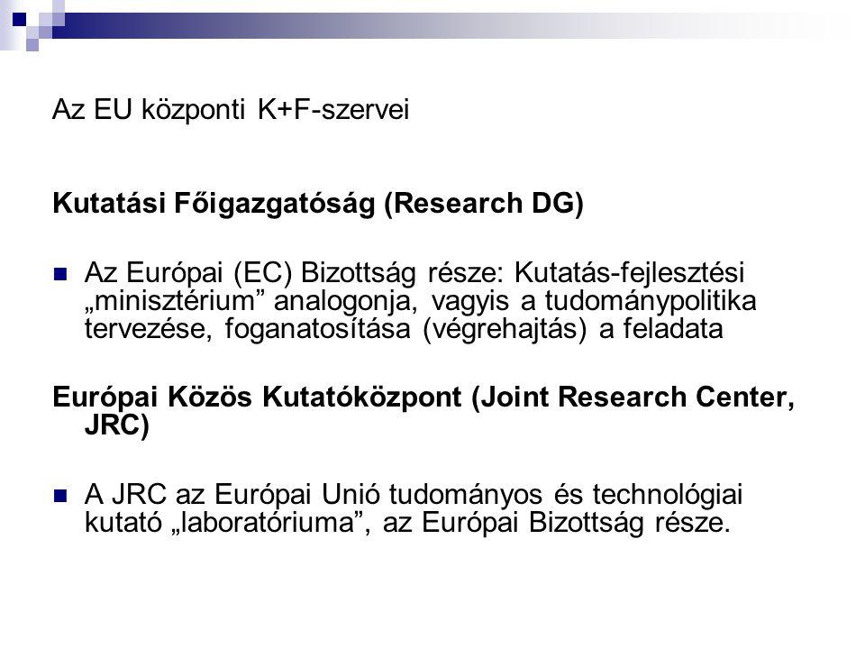 """Az EU központi K+F-szervei Kutatási Főigazgatóság (Research DG) Az Európai (EC) Bizottság része: Kutatás-fejlesztési """"minisztérium analogonja, vagyis a tudománypolitika tervezése, foganatosítása (végrehajtás) a feladata Európai Közös Kutatóközpont (Joint Research Center, JRC) A JRC az Európai Unió tudományos és technológiai kutató """"laboratóriuma , az Európai Bizottság része."""