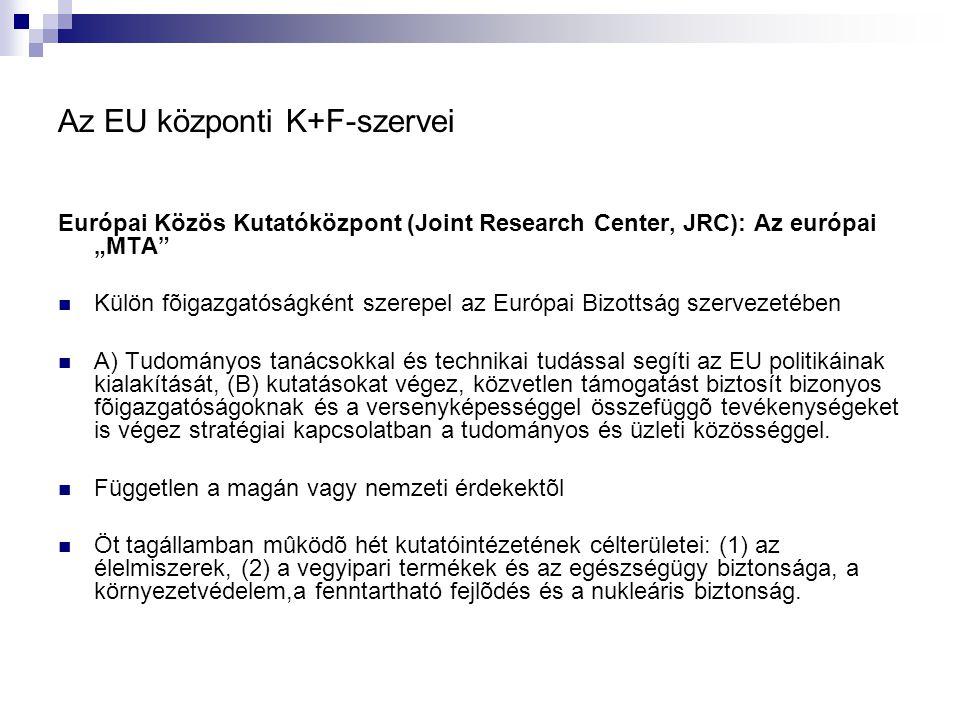 """Az EU központi K+F-szervei Európai Közös Kutatóközpont (Joint Research Center, JRC): Az európai """"MTA Külön fõigazgatóságként szerepel az Európai Bizottság szervezetében A) Tudományos tanácsokkal és technikai tudással segíti az EU politikáinak kialakítását, (B) kutatásokat végez, közvetlen támogatást biztosít bizonyos fõigazgatóságoknak és a versenyképességgel összefüggõ tevékenységeket is végez stratégiai kapcsolatban a tudományos és üzleti közösséggel."""