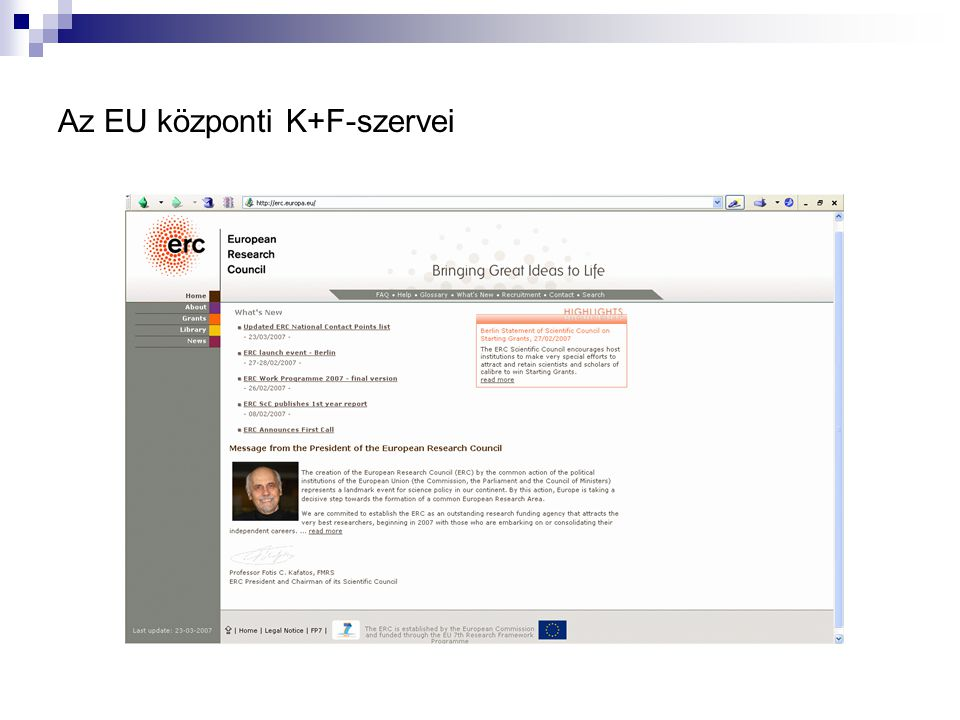 Az EU központi K+F-szervei