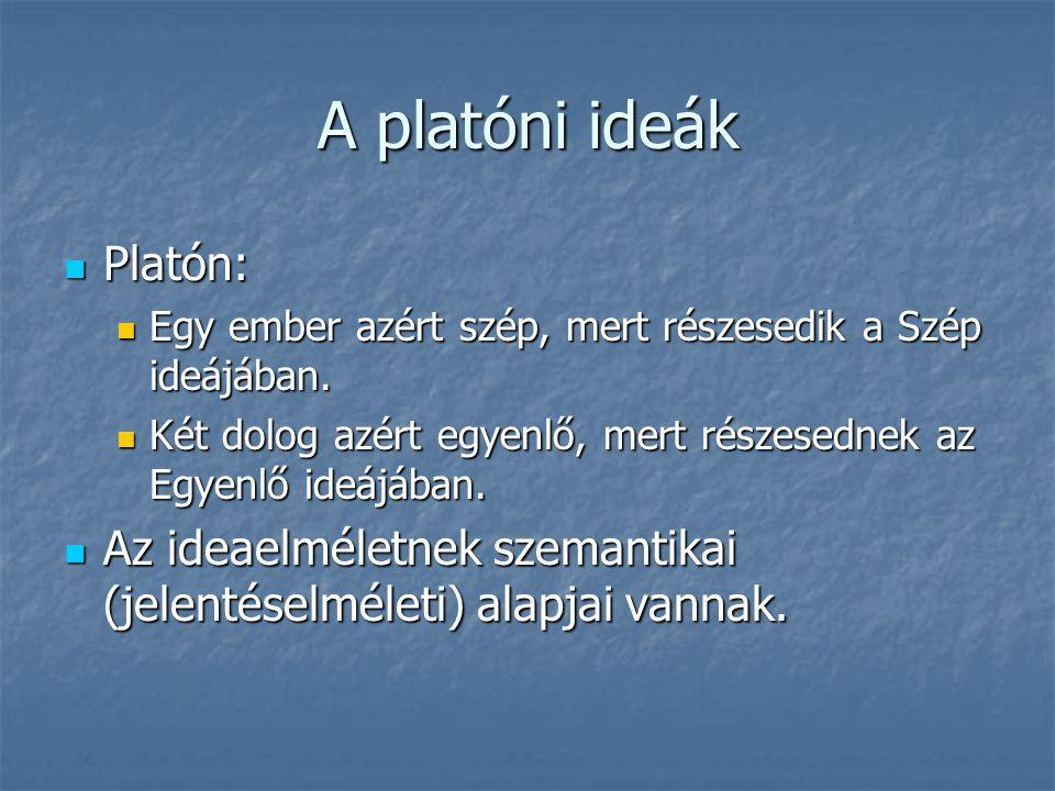 A platóni ideák Platón: Platón: Egy ember azért szép, mert részesedik a Szép ideájában. Egy ember azért szép, mert részesedik a Szép ideájában. Két do