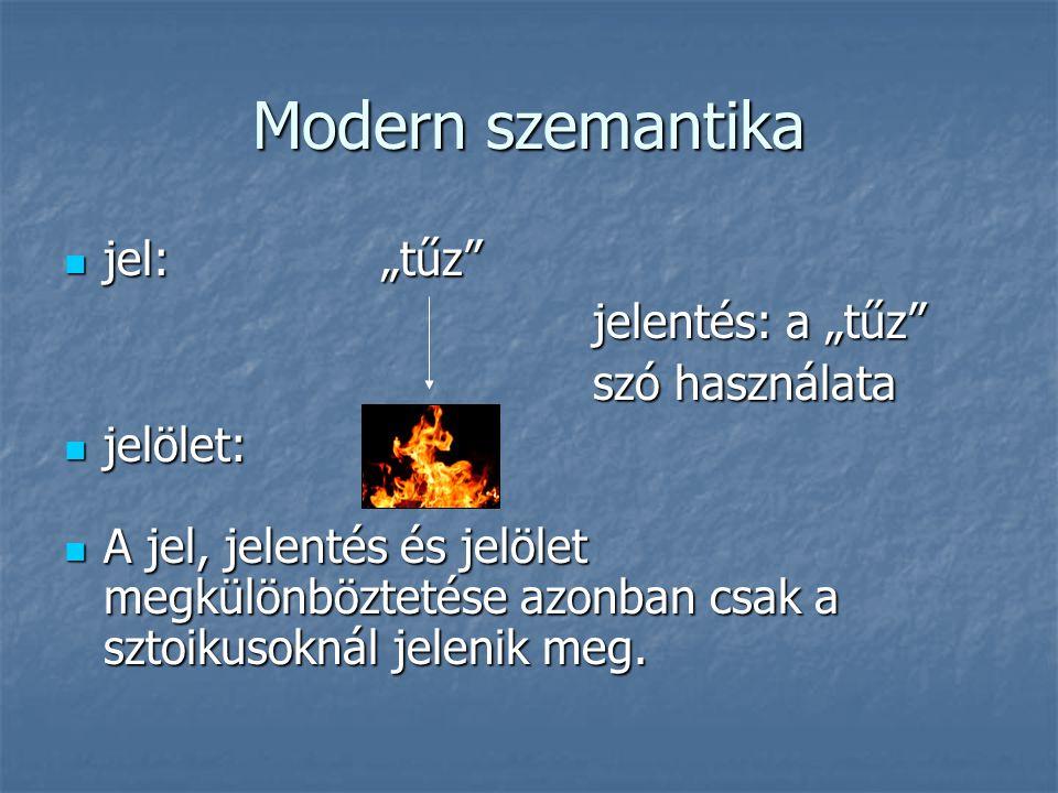 """Modern szemantika jel:""""tűz"""" jel:""""tűz"""" jelentés: a """"tűz"""" szó használata jelölet: jelölet: A jel, jelentés és jelölet megkülönböztetése azonban csak a s"""