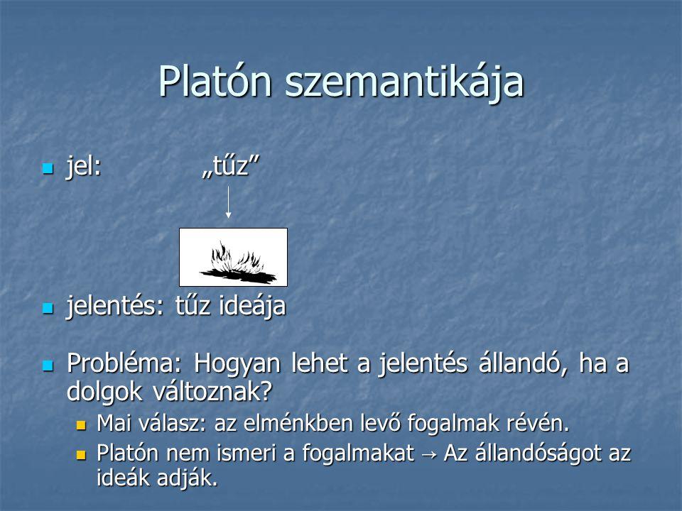 """Platón szemantikája jel: """"tűz"""" jel: """"tűz"""" jelentés: tűz ideája jelentés: tűz ideája Probléma: Hogyan lehet a jelentés állandó, ha a dolgok változnak?"""