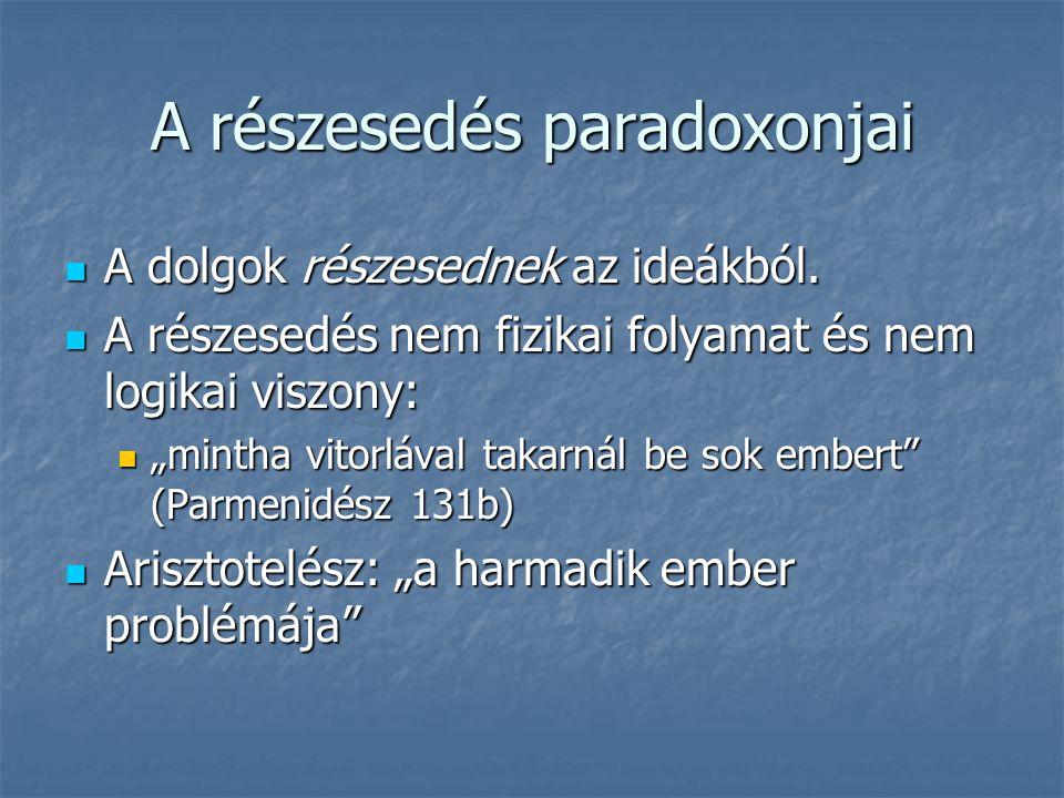 A részesedés paradoxonjai A dolgok részesednek az ideákból. A dolgok részesednek az ideákból. A részesedés nem fizikai folyamat és nem logikai viszony
