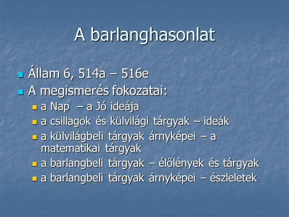 A barlanghasonlat Állam 6, 514a – 516e Állam 6, 514a – 516e A megismerés fokozatai: A megismerés fokozatai: a Nap – a Jó ideája a Nap – a Jó ideája a