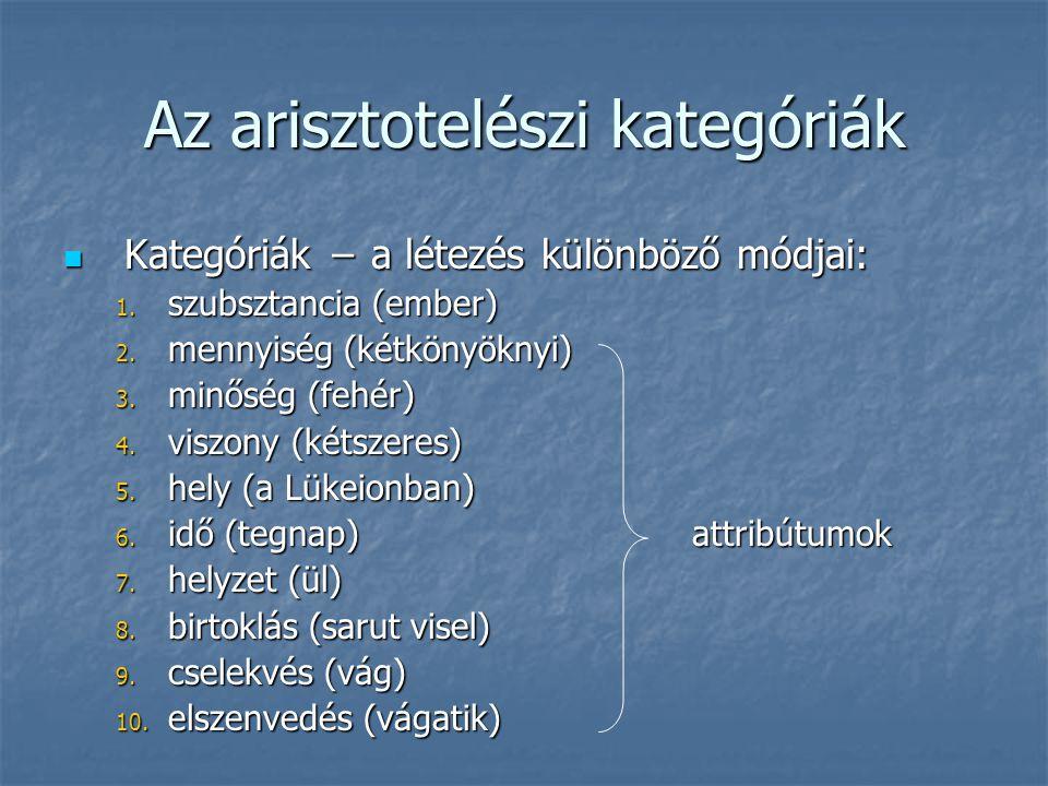 Az arisztotelészi kategóriák Kategóriák − a létezés különböző módjai: Kategóriák − a létezés különböző módjai: 1. szubsztancia (ember) 2. mennyiség (k