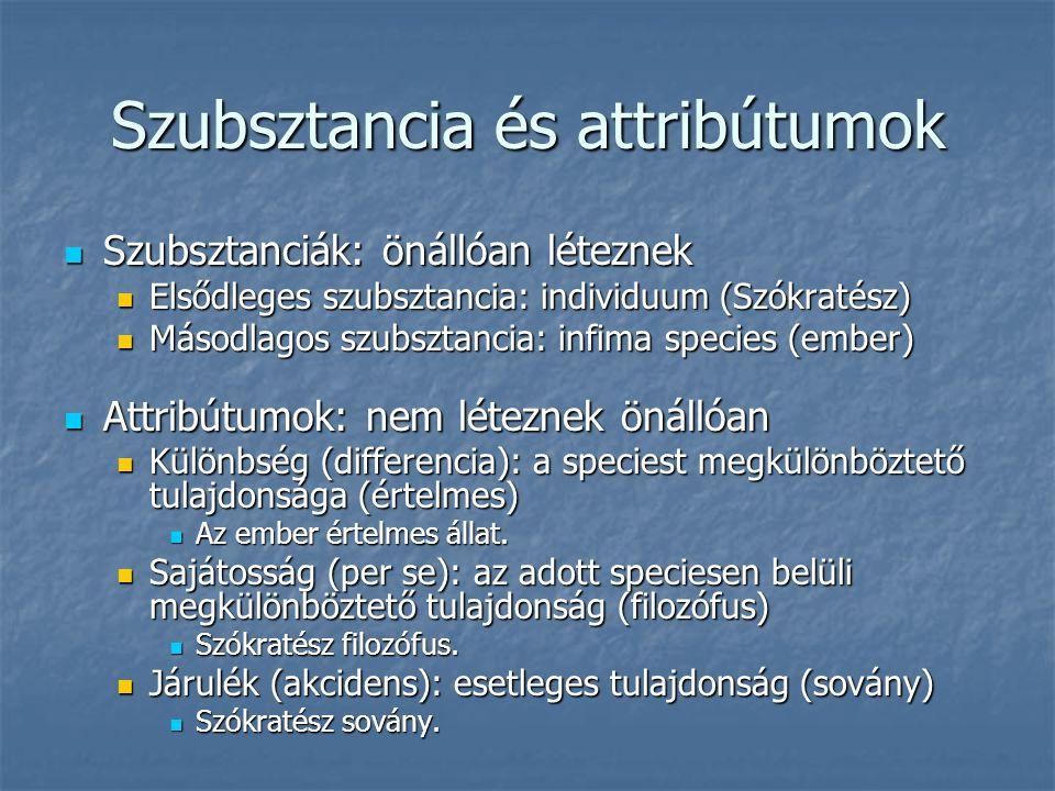 Szubsztancia és attribútumok Szubsztanciák: önállóan léteznek Szubsztanciák: önállóan léteznek Elsődleges szubsztancia: individuum (Szókratész) Elsődl