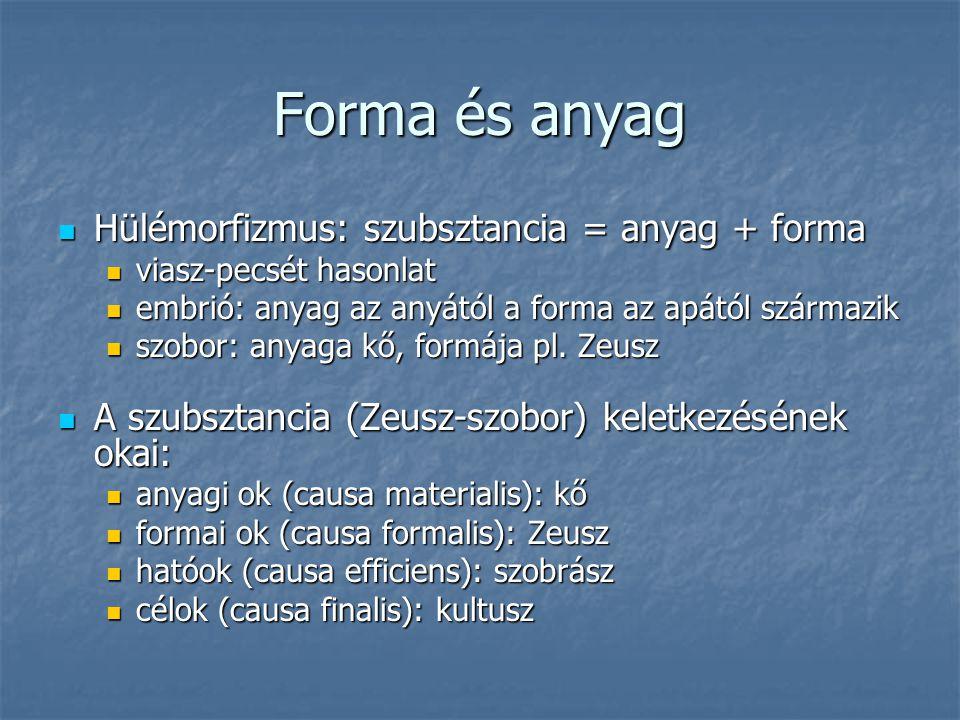 Forma és anyag Hülémorfizmus: szubsztancia = anyag + forma Hülémorfizmus: szubsztancia = anyag + forma viasz-pecsét hasonlat viasz-pecsét hasonlat emb