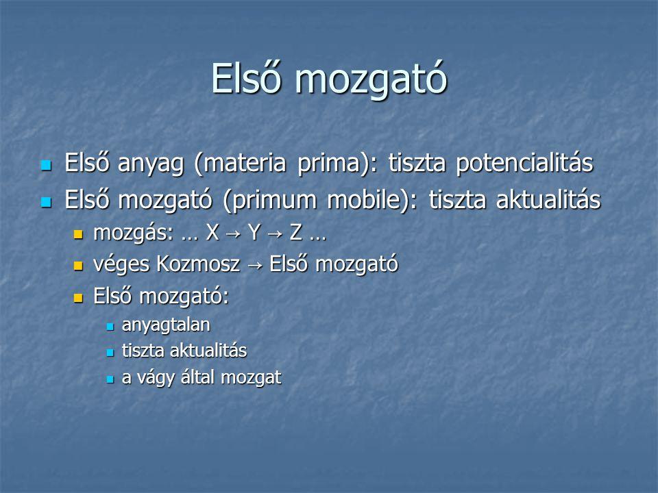 Első mozgató Első anyag (materia prima): tiszta potencialitás Első anyag (materia prima): tiszta potencialitás Első mozgató (primum mobile): tiszta ak
