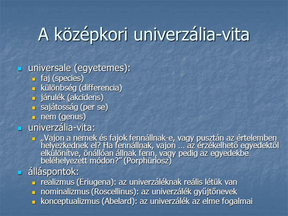 A középkori univerzália-vita universale (egyetemes): universale (egyetemes): faj (species) faj (species) különbség (differencia) különbség (differenci