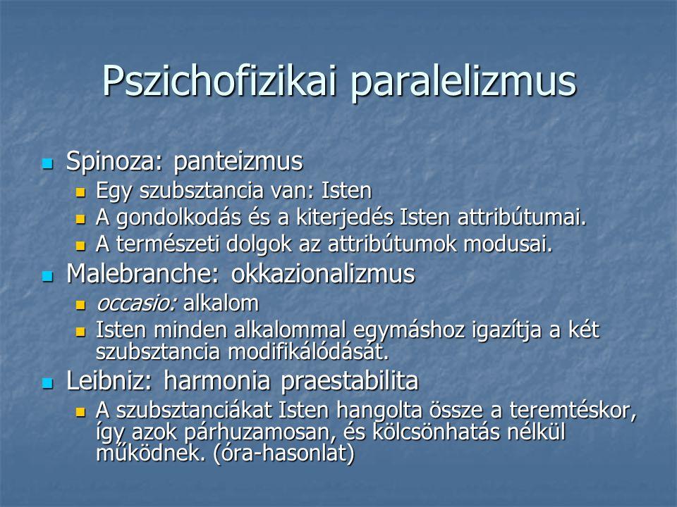 Pszichofizikai paralelizmus Spinoza: panteizmus Spinoza: panteizmus Egy szubsztancia van: Isten Egy szubsztancia van: Isten A gondolkodás és a kiterje