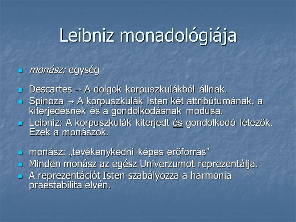 Leibniz monadológiája monász: egység monász: egység Descartes → A dolgok korpuszkulákból állnak. Descartes → A dolgok korpuszkulákból állnak. Spinoza