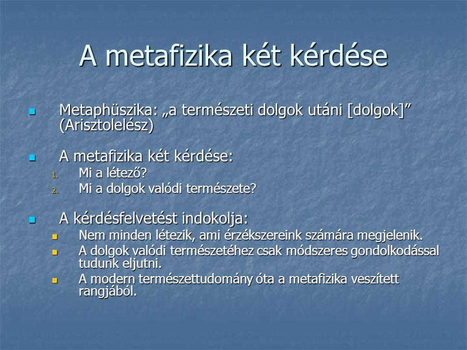 """A metafizika két kérdése Metaphüszika: """"a természeti dolgok utáni [dolgok]"""" (Arisztolelész) Metaphüszika: """"a természeti dolgok utáni [dolgok]"""" (Ariszt"""