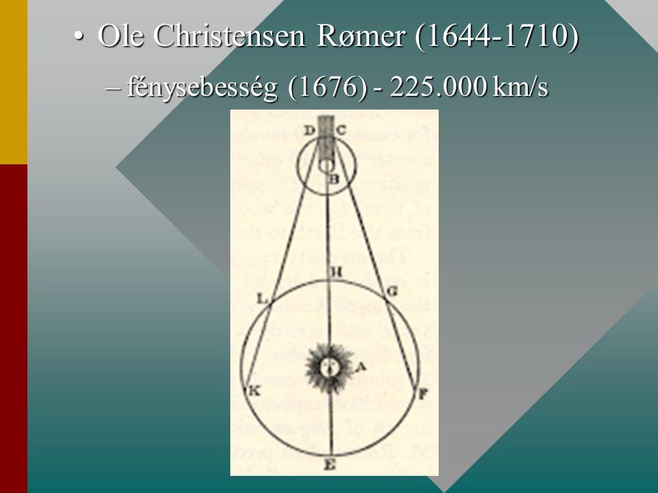 Ole Christensen Rømer (1644-1710)Ole Christensen Rømer (1644-1710) –fénysebesség (1676) - 225.000 km/s