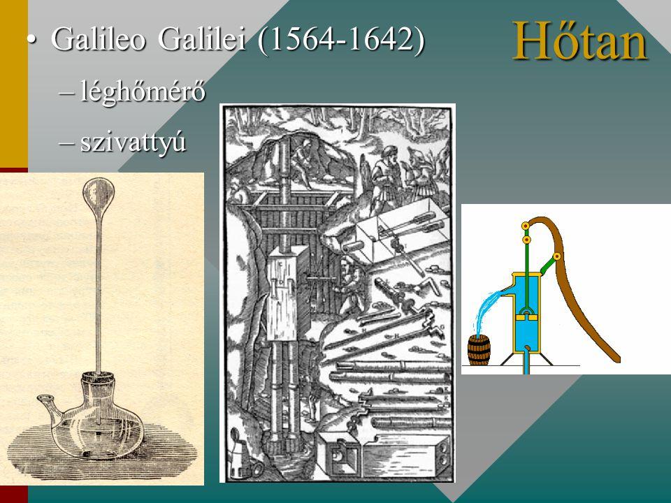 Galileo Galilei (1564-1642)Galileo Galilei (1564-1642) –léghőmérő –szivattyú Hőtan