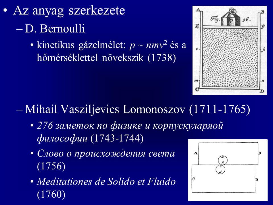 Az anyag szerkezete –D. Bernoulli kinetikus gázelmélet: p ~ nmv 2 és a hőmérséklettel növekszik (1738) –Mihail Vasziljevics Lomonoszov (1711-1765) 276