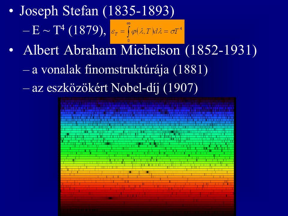 Joseph Stefan (1835-1893) –E ~ T 4 (1879), Albert Abraham Michelson (1852-1931) –a vonalak finomstruktúrája (1881) –az eszközökért Nobel-díj (1907)