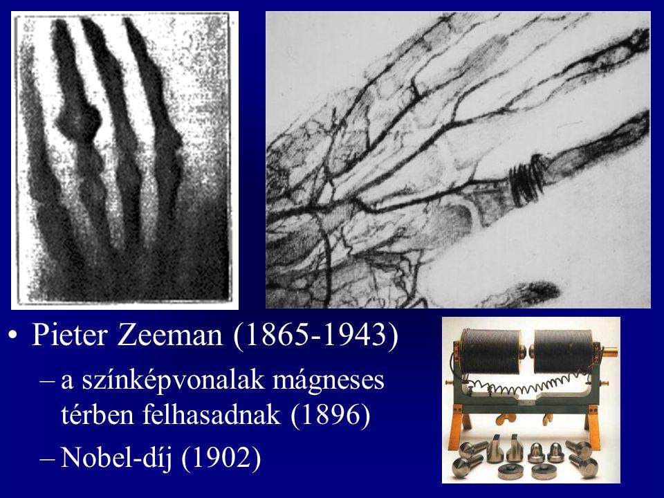 Pieter Zeeman (1865-1943) –a színképvonalak mágneses térben felhasadnak (1896) –Nobel-díj (1902)