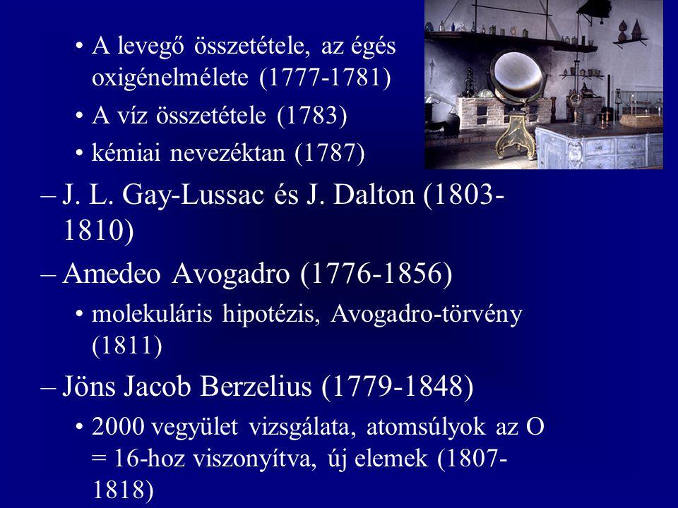 A levegő összetétele, az égés oxigénelmélete (1777-1781) A víz összetétele (1783) kémiai nevezéktan (1787) –J. L. Gay-Lussac és J. Dalton (1803- 1810)