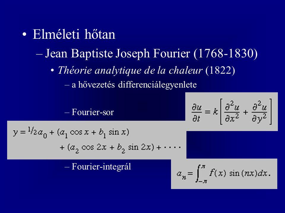 Elméleti hőtan –Jean Baptiste Joseph Fourier (1768-1830) Théorie analytique de la chaleur (1822) –a hővezetés differenciálegyenlete –Fourier-sor –Fourier-integrál