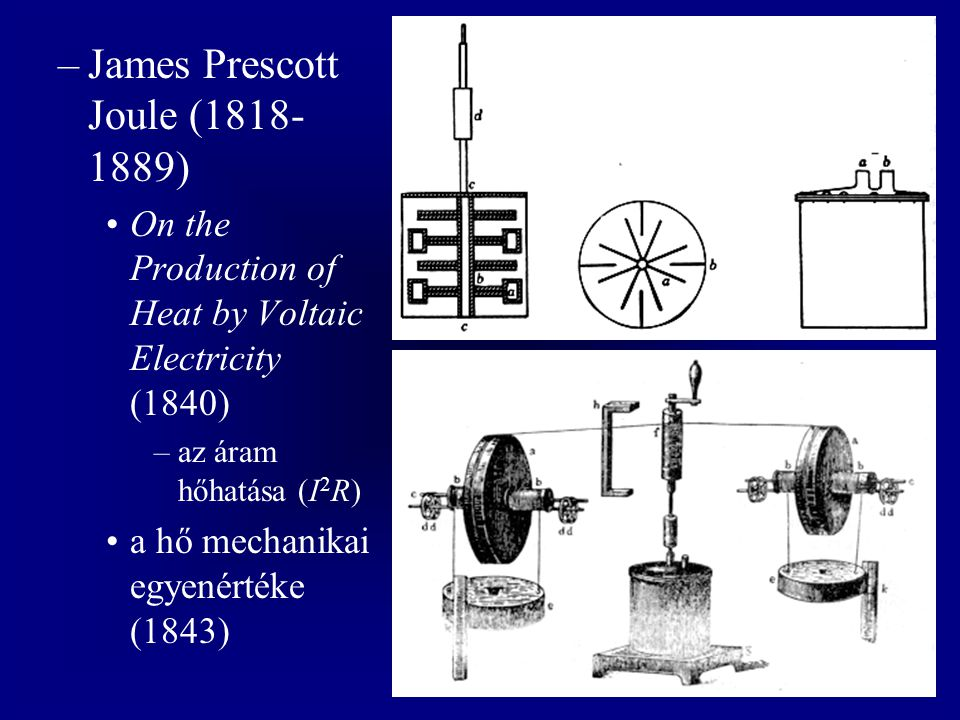 –James Prescott Joule (1818- 1889) On the Production of Heat by Voltaic Electricity (1840) –az áram hőhatása (I 2 R) a hő mechanikai egyenértéke (1843