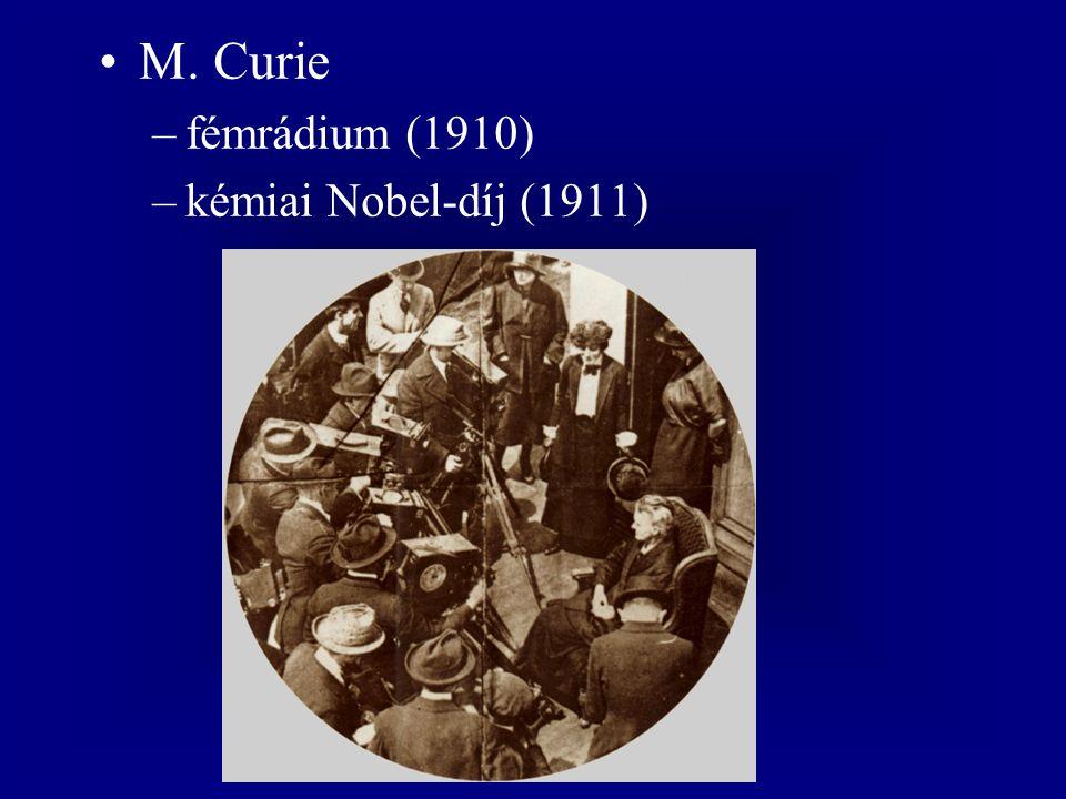M. Curie –fémrádium (1910) –kémiai Nobel-díj (1911)
