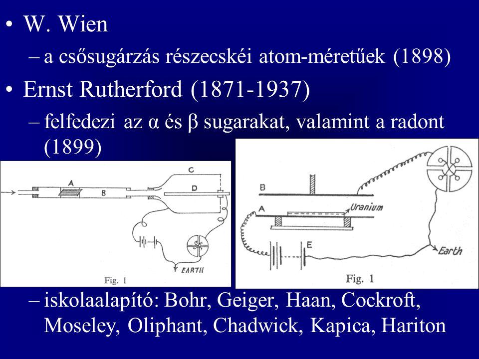 W. Wien –a csősugárzás részecskéi atom-méretűek (1898) Ernst Rutherford (1871-1937) –felfedezi az α és β sugarakat, valamint a radont (1899) –iskolaal