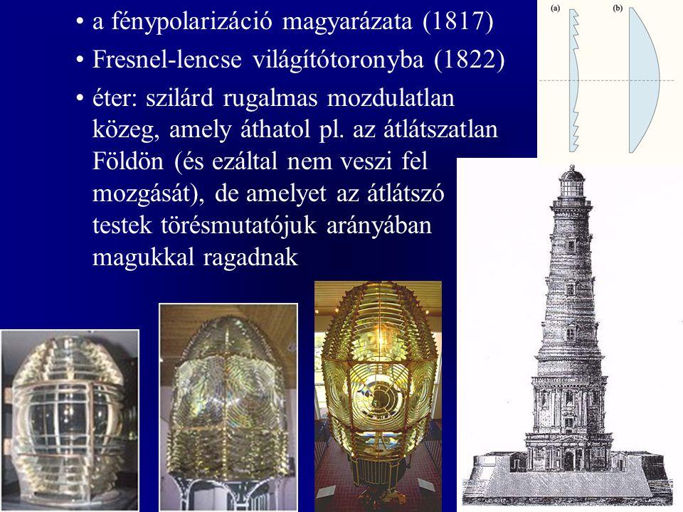 a fénypolarizáció magyarázata (1817) Fresnel-lencse világítótoronyba (1822) éter: szilárd rugalmas mozdulatlan közeg, amely áthatol pl.