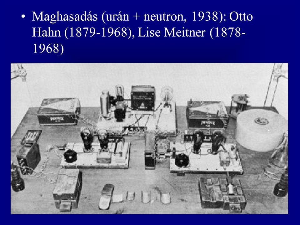 Maghasadás (urán + neutron, 1938): Otto Hahn (1879-1968), Lise Meitner (1878- 1968)