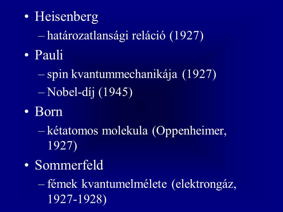 Heisenberg –határozatlansági reláció (1927) Pauli –spin kvantummechanikája (1927) –Nobel-díj (1945) Born –kétatomos molekula (Oppenheimer, 1927) Somme