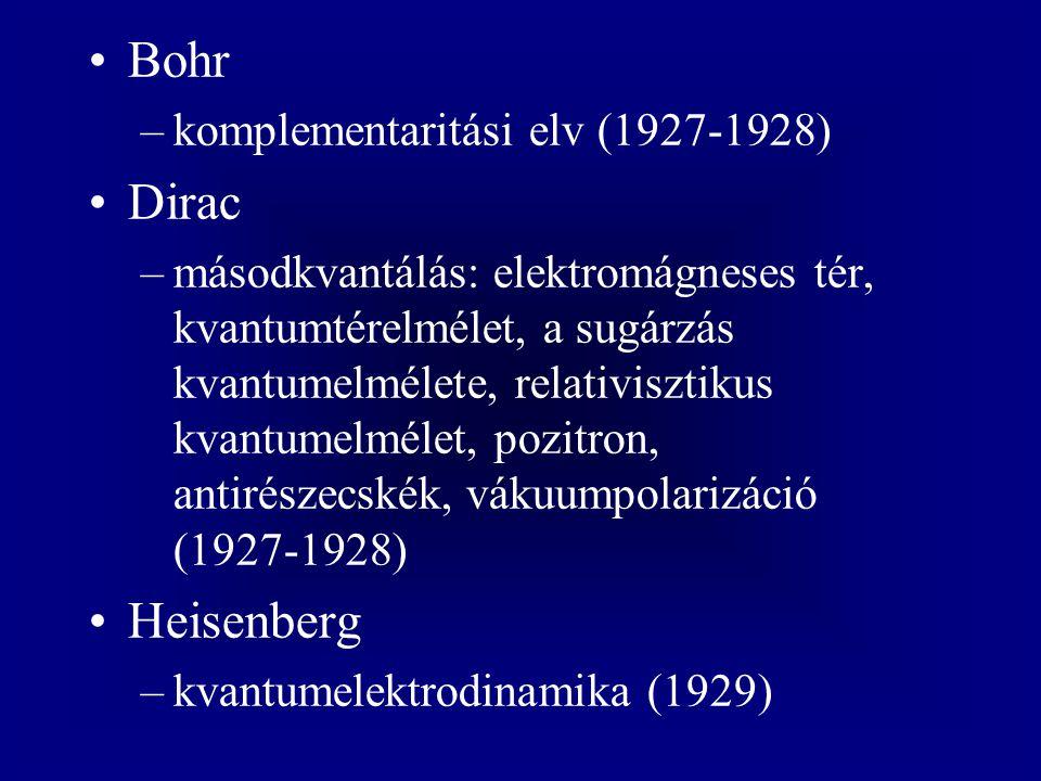 Bohr –komplementaritási elv (1927-1928) Dirac –másodkvantálás: elektromágneses tér, kvantumtérelmélet, a sugárzás kvantumelmélete, relativisztikus kva