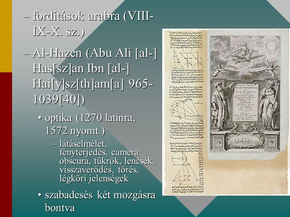 –fordítások arabra (VIII- IX-X. sz.) –Al-Hazen (Abu Ali [al-] Has[sz]an Ibn [al-] Hai[y]sz[th]am[a] 965- 1039[40]) optika (1270 latinra, 1572 nyomt.)o