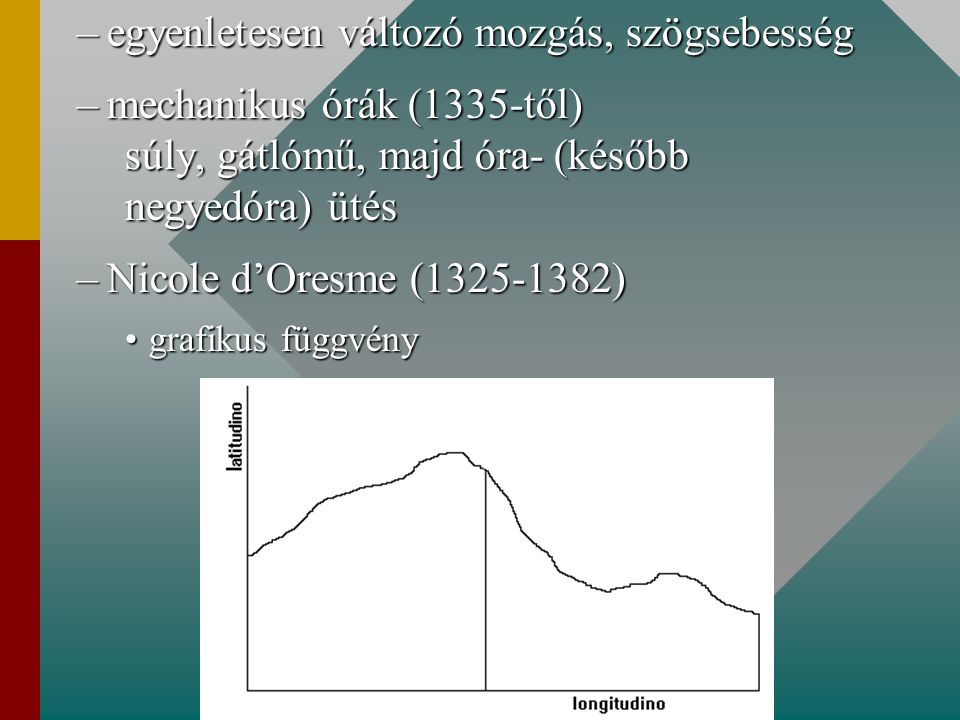 –egyenletesen változó mozgás, szögsebesség –mechanikus órák (1335-től) súly, gátlómű, majd óra- (később negyedóra) ütés –Nicole d'Oresme (1325-1382) g