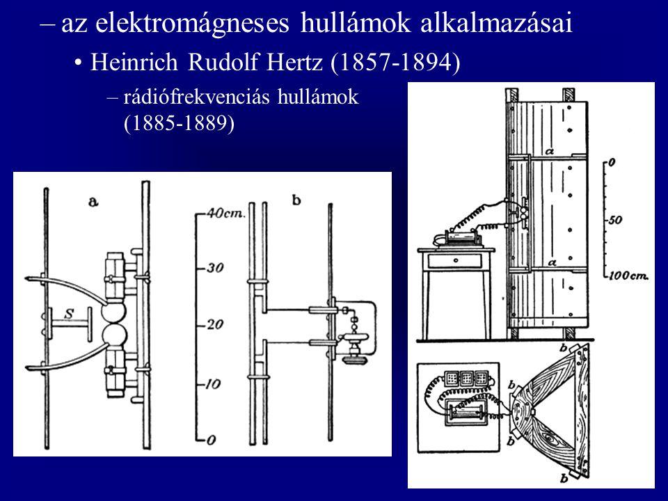 –az elektromágneses hullámok alkalmazásai Heinrich Rudolf Hertz (1857-1894) –rádiófrekvenciás hullámok (1885-1889)