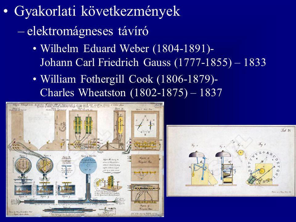 Gyakorlati következmények –elektromágneses távíró Wilhelm Eduard Weber (1804-1891)- Johann Carl Friedrich Gauss (1777-1855) – 1833 William Fothergill
