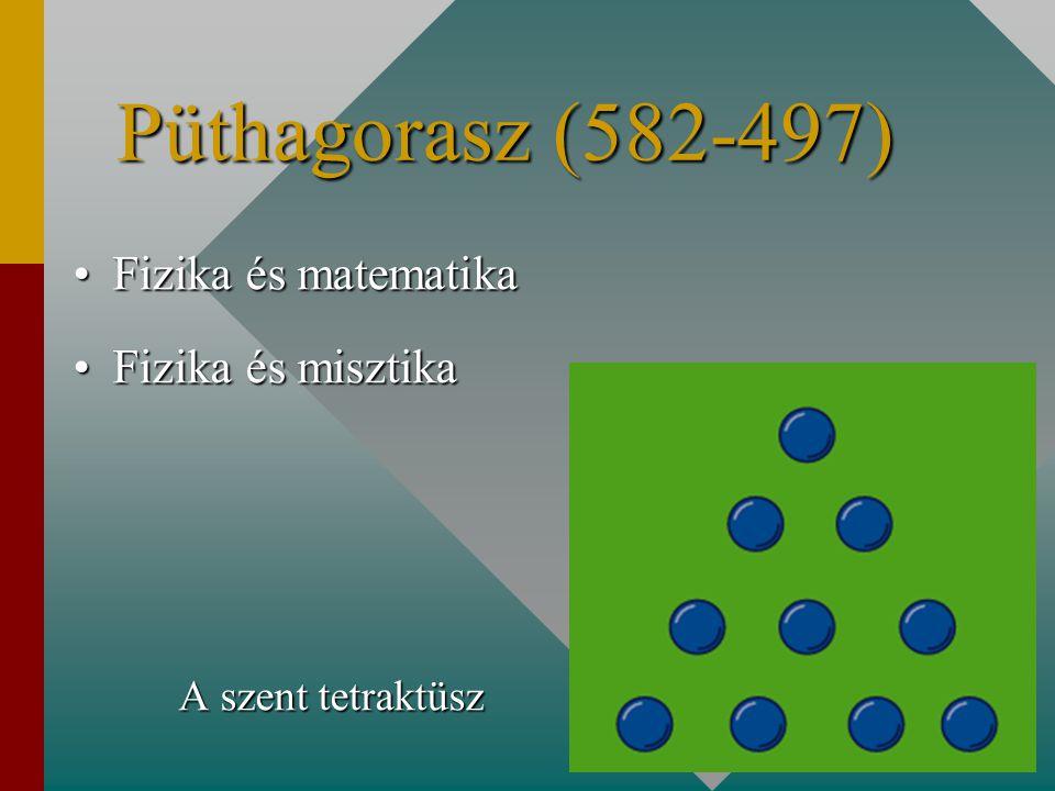 Püthagorasz (582-497) Fizika és matematikaFizika és matematika Fizika és misztikaFizika és misztika A szent tetraktüsz