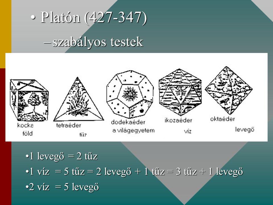 Platón (427-347)Platón (427-347) –szabályos testek 1 levegő = 2 tűz1 levegő = 2 tűz 1 víz = 5 tűz = 2 levegő + 1 tűz = 3 tűz + 1 levegő1 víz = 5 tűz =