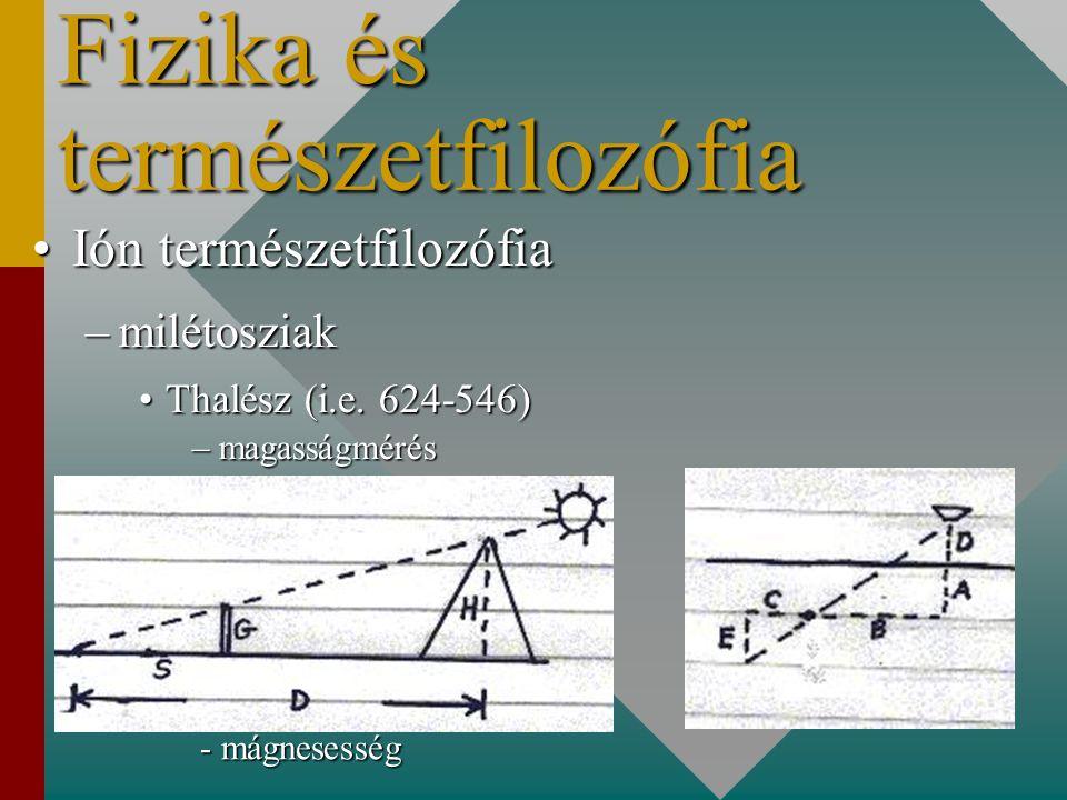 Fizika és természetfilozófia Ión természetfilozófiaIón természetfilozófia –milétosziak Thalész (i.e.