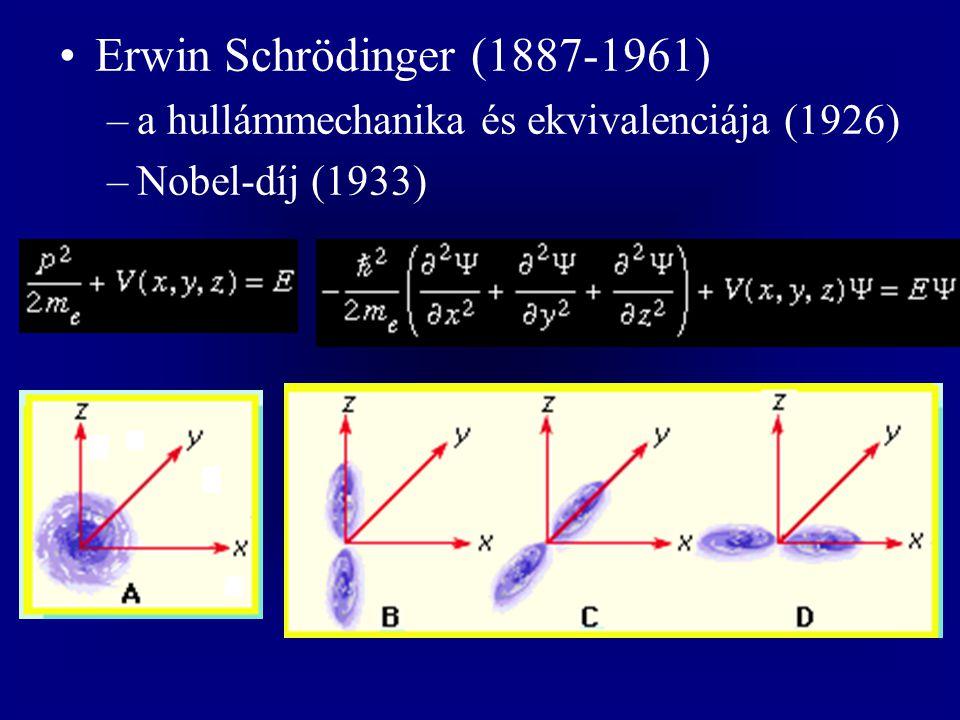 Erwin Schrödinger (1887-1961) –a hullámmechanika és ekvivalenciája (1926) –Nobel-díj (1933)