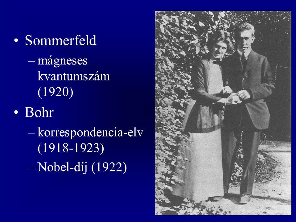 Sommerfeld –mágneses kvantumszám (1920) Bohr –korrespondencia-elv (1918-1923) –Nobel-díj (1922)