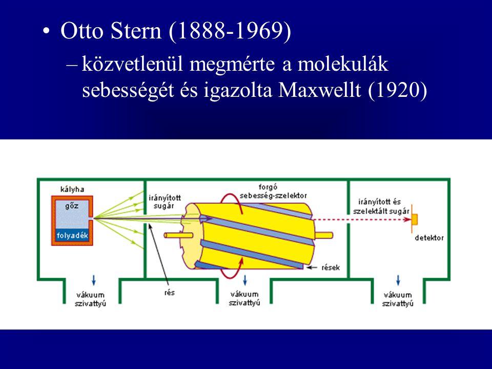 Otto Stern (1888-1969) –közvetlenül megmérte a molekulák sebességét és igazolta Maxwellt (1920)