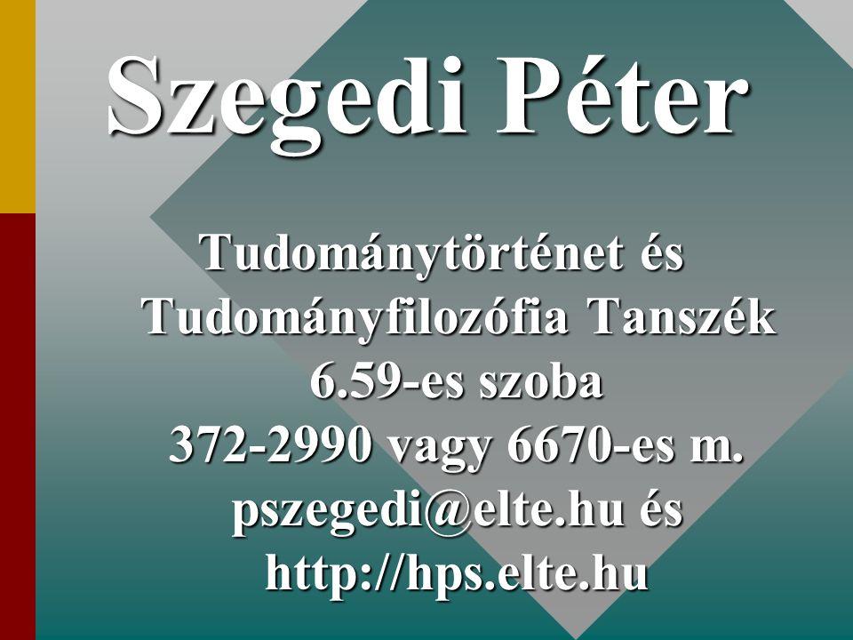 Szegedi Péter Tudománytörténet és Tudományfilozófia Tanszék 6.59-es szoba 372-2990 vagy 6670-es m. pszegedi@elte.hu és http://hps.elte.hu